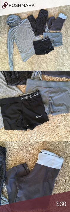 Women's Workout Bundle Price is for all. Gray running jacket - Old Navy, S. Black and gray athletic tights - Champion, XS. Gray and blue cropped athletic tights - Champion, XS. Black and Gray Pro Combat spandex - Nike, XS. All EUC! Nike Pants Track Pants & Joggers
