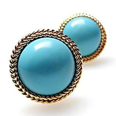 Vintage Fine Turquoise Cabochon Earrings Solid 14k Gold