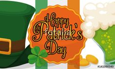 Banner with Traditional Party Elements for St. Happy D, Leprechaun, St Patricks Day, Illustration, Banner, Traditional, Party, Banner Stands, Parties