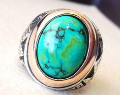 los hombres piedra de Nishapur tibetana turquesa azul natural alta calidad anillo de plata esterlina 925 todo el estilo del Medio Oriente de piedra preciosa semi
