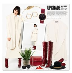 """Upgrade your Chic"" by justlovedesign ❤ liked on Polyvore featuring Abbott Lyon, Nordstrom, Valentino, Janessa Leone, chic, red, coat and longboots"