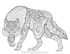 Free printable wolf adult coloring page. Download it in PDF format at http://coloringgarden.com/download/wolf-coloring-page/