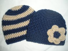 Made with soft acrylic yarn, this hat set is perfect for newborn pictures or a baby gift. This set includes a navy and tan striped boys hat,