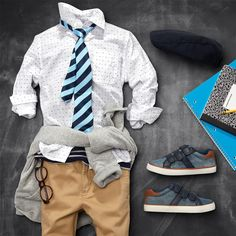 Boys' fashion | Kids' clothes | Button-down shirt | Tie | Sweatshirt | Chinos | Sneakers | Uniform style | Back-to-school | The Children's Place