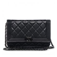 CHANEL Lambskin Quilted Boy Wallet On Chain WOC So Black NEW found on Polyvore