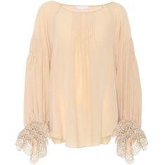 Chloé Silk Blouse (15.455 NOK) ❤ liked on Polyvore featuring tops, blouses, pink, pink blouse, pure silk blouse, beige silk blouse, beige top and pink top