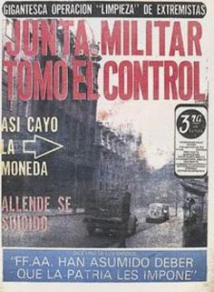 La Tercera (Chile) - 12 de septiembre de 1973. Regimen Militar, Victor Jara, Titanic Art, Military Dictatorship, Chili, Newspaper Headlines, U.s. States, Cold War, Nostalgia