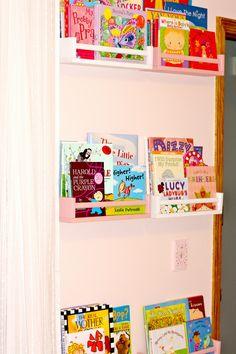 IKEA Spice Racks turned into book shelves!!  Great for a kids room or playroom! - www.refashionablylate.com