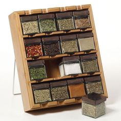 Keep the spices in display with the Kamenstein 16 Cube Bamboo Inspirations Spice Rack. This rack is constructed from bamboo that makes it strong and durab. Spice Storage, Spice Organization, Diy Kitchen Storage, Food Storage, Storage Ideas, Rotating Spice Rack, Wood Spice Rack, Medicine Organization, Storage Solutions