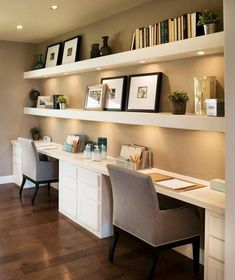 Contrast your white built in desk with dark wooden floors while connecting the two with beige walls. Seen in Bluffview, a Dallas community.