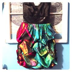 Gorgeous Multicolored Prom/formal dress Worn once for a couple hours, no rips stains or tears, and zipper goes up fine. Colors are gorgeous, strapless top is very flattering. Size tag says 5/6, true to size Studio Y Dresses Prom