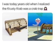 Crabs is the only crab in town, and the meat in the krusty Krab (Krab trap) is a secret recipe. Hmm maybe CRAB MEAT. Crabs is the only crab in town, and the meat in the krusty Krab (Krab trap) is a secret recipe. Hmm maybe CRAB MEAT. Stupid Funny, Haha Funny, Funny Cute, Hilarious, Funny Stuff, Crab Trap, Lobster Trap, Dankest Memes, Funny Memes