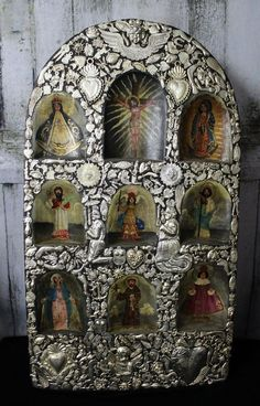Altar Piece Paintings of Chirst & 8 Saints Covered in Milagros Mexican Folk Art #artesaniasMexicanas