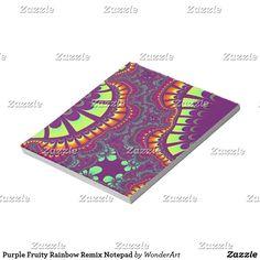 Purple Fruity Rainbow Remix Notepad #orange #purple #yellow #trendy #pattern #fractals #fractal #abstract #colorful #bright #vibrant #psychedelic #rainbow