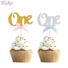 FENGRISE First Birthday Cupcake Toppers Gold Silver Boy Girl Happy 1st Birthday Party Decoration I AM ONE Party Favors Pink Blue-in Cake Decorating Supplies from Home & Garden on Aliexpress.com | Alibaba Group