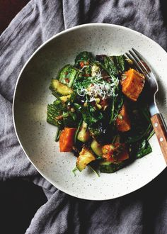 A warm salad for the days when summer spills over into fall and zucchini has the chance to briefly meet its winter cousin