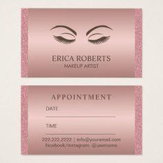 #makeupartist #businesscards - #Makeup Artist Beauty Girl Rose Gold Appointment Business Card