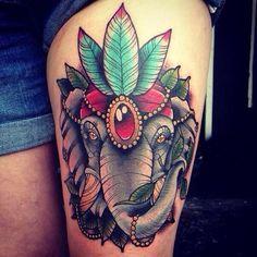 Elephant with a head dress | Tattoos | Pinterest | Elephants and ...