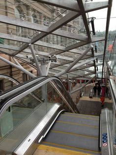 The Waverley Steps - entrance to Waverley Station from Princes Street, Edinburgh - have been redesigned to include escalators and covered glass canopy.