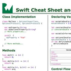 Swift Language: Cheat Sheet and Quick Reference