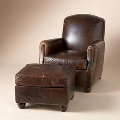 Fremont Chair U0026 Ottoman Our Tailored Leather, Sumptuous Slouch Back Club  Chair Combines Old
