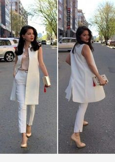 Street style for work Sleeveless Blazer Outfit, White Vest Outfit, Long Vest Outfit, Jumpsuit Dress, White Dress, Summer Work Outfits, Office Outfits, Mode Outfits, Gym Outfits