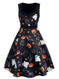50988d3ce216 Black 1950s Halloween Swing Dress