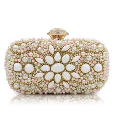 051294587cca  Women  Luxury  Evening  Bags  Wedding  Party  Pearl Flower Bride