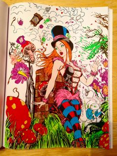 from Zenescope's Alice in Wonderland coloring book. Colored by Michele using markers, gel pens and Chameleon alcohol pens (for flesh tones)