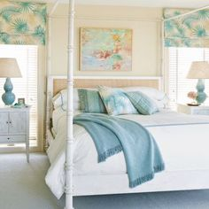 A natural palette with splashes of shades of blue, turquoise, and texture turns this master bedroom into a soothing sanctuary. The canopy bed also works to elevate the space.