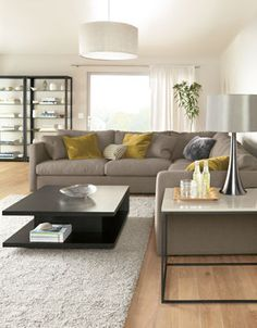 Room & Board - Tyne End Tables - Modern End Tables - Modern Living Room Furniture Home Living Room, Interior Design Living Room, Living Room Designs, Living Room Decor, Living Room Furniture Sets, Interior Decorating, Living Spaces, Living Room Sectional, Gray Sectional