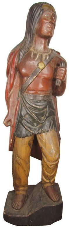 Very Unusual Cigar Store Indian Brave Figure, Sold $11,000.00.