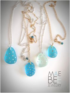 Polka dotted Sea Glass necklaces from JewelryByMaeBee on Etsy. www.jewelrybymaebee.etsy.com