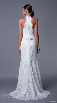 lihi hod 2017 bridal sleeveless halter neck full embellishment classy elegant lace trumpet mermaid wedding dress sweep train (lauren) bv