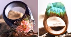 New Miniature Worlds Inside Wooden Rings Capture The Beauty Of Different Seasons | Bored Panda