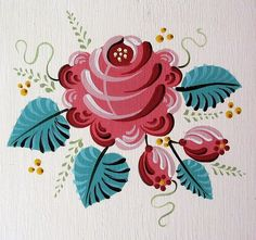 I love this country style of painting Folk Art Flowers, Flower Art, Tole Painting, Painting & Drawing, Tole Decorative Paintings, Norwegian Rosemaling, Art Populaire, Images Vintage, Boat Art