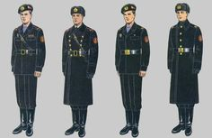 MILITARY SOVIET ARMY AND NAVY form left to right. Marines Officers' and Ensigns' everyday summer and winter uniforms. Marines sergeants' and sailors' everyday summer and winter uniforms. Ww2 Uniforms, Police Uniforms, Army Uniform, Soviet Army, Soviet Union, Marine Officer, Army & Navy, Cold War, World War Two