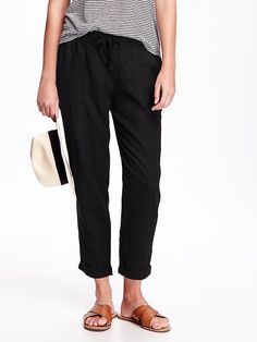 Linen-Blend Cropped Pants for Women