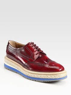 Prada  Wing-Tip Platform Espadrille Oxfords in Scarlet $795