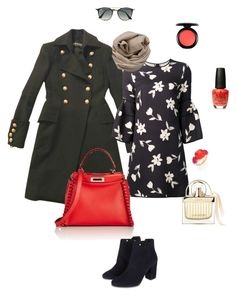 """""""a touch of coral"""" by ulusia-1 ❤ liked on Polyvore featuring Balmain, Carolina Herrera, Monsoon, Fendi, Brunello Cucinelli, Ray-Ban, MAC Cosmetics, OPI, Chloé and Pomellato"""