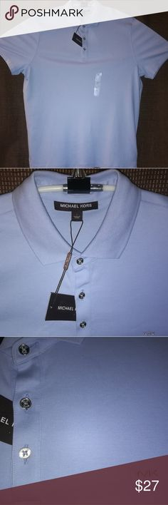 L - Michael Kors Cotton S/S 3Button NWT New with Tags. Ultra Fresh Ultra Soft Cotton.  3-Bottons Metal buttons. No rips or stains. All offers will be considered. Please post any questions or comments.Will reply asap. Michael Kors Shirts Polos