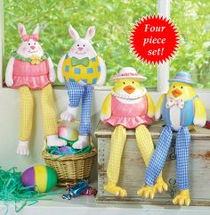 Bunny and Chick Couples Easter Shelf Sitters - Set of 4