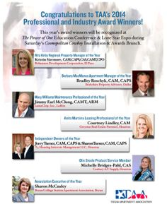 Congratulations to TAA's 2014 Professional & Industry Award Winners!