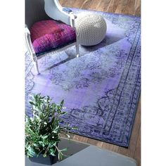 nuLOOM Vintage Inspired Overdyed Rug (8' x 10') in Purple (As Is Item)