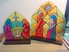 EL REGALO IDEAL SAGRADA FAMILIA EN VITRAL Nativity Ornaments, Christmas Nativity, Christmas Crafts, Nativity Sets, Dot Painting, Painting & Drawing, Sunday School Crafts, Art Lesson Plans, Art Lessons