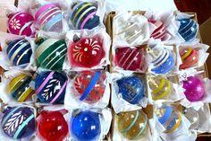 24 Pretty Vtg Unsilvered Mica Shiny Brite WW2 Glass Xmas Ornaments Shiny Brite   eBay