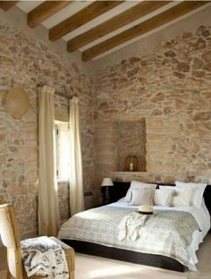 41 Superb Home Stone Interior Design Ideas You Need To Try Now Stone Interior, Home Interior Design, Modern Interior, French Country Bedrooms, Italian Home, Cottage Interiors, Stone Houses, New Homes, Stone Walls