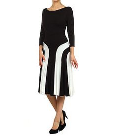 Another great find on #zulily! Black & White Color Block Boatneck Dress by Pretty Young Thing #zulilyfinds