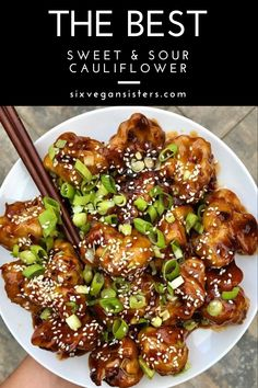 Vegan Sweet & Sour Cauliflower that the whole family will enjoy -- it's packed with flavor and easy to whip up! Vegan Sweet & Sour Cauliflower that the whole family will enjoy -- it's packed with flavor and easy to whip up! Cauliflower Recipes, Veggie Recipes, Cooking Recipes, Healthy Recipes, Cooking Tips, Clean Eating, Healthy Eating, Vegan Dishes, Vegan Foods