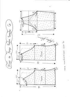 Esquema de modelagem de blusa de malha de manga raglan tamanho G…